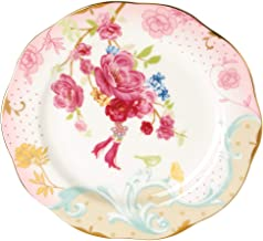 AWHOME Royal British Bone China Dessert Red Flowers Plates Fruit tray 7.8 inches Pink (Pink)