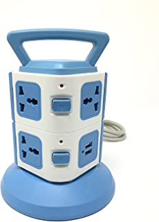 Shahn 2 Layers with 7 EU Outlets and 2 Ports 2.1A USB Smart Power Sockets, Overload Protector. (7 Socket with 2 USB Ports.)