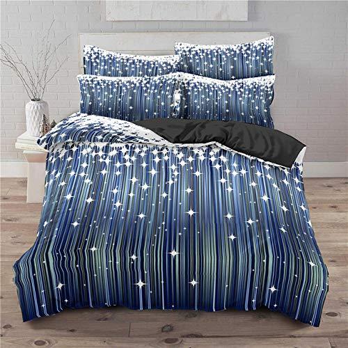 HXFJL Star Set di Biancheria Da Letto 3D Stampato Universo Stellato Galaxy Morbido Consolatore Copertura Federa Copripiumino Adulti Bambini Biancheria Da Letto 200X200CM