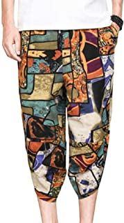 Zimaes Men Linen Chinese Style Printed Folk Style Colorful Comfy Running Pants