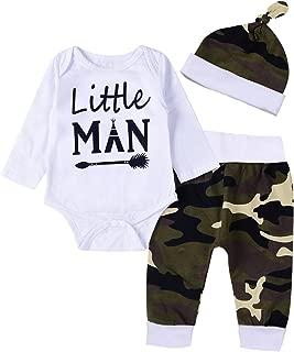 Newborn Baby Boy Girl Clothes Little Man Long Sleeve Romper,Plaid Pants + Cute Hats 3pcs Outfit Set
