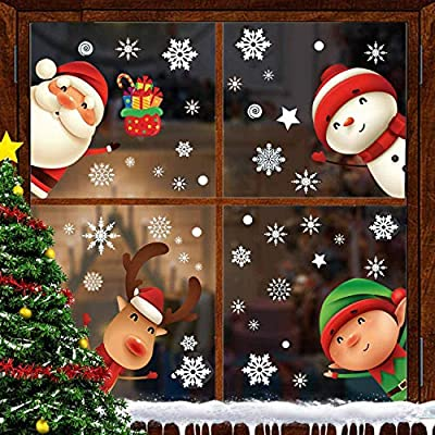 Christmas Window Clings, Upgraded Static Christmas Window Sticker, Snowflake Window Sticker for Christmas Decorations 6 Sheets