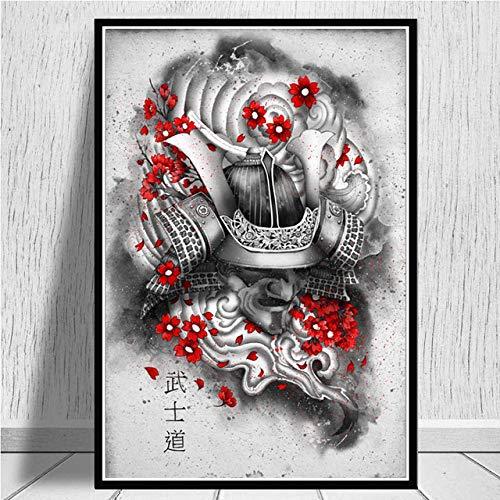 Cuadro En Lienzo,Japón Anime Ukiyo-E Carteles Mural Armadura Samurai Imagen De Impresión 3D No Tejida Modular Pintura De Pared Vertical Moderna Obra De Arte Decoración De La Oficina Del Dormitorio