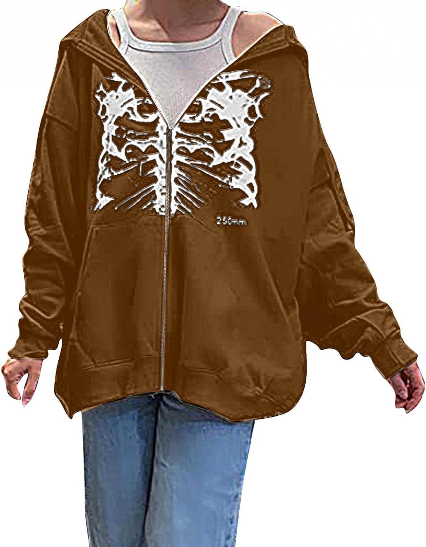 Aniwood Women Zip Up Hoodie Y2k Aesthetic Sweatshirts Top 90s Long Sleeve Vintage Oversized Pullovers Sweatshirt jacket