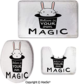 Rug 3-Piece Washable Bathroom Rug Set, Machine Washable Toilet seat pad, Perfect Plush Mats for Tub Shower,Magical,Believe in Your Own Magic Quite Print with Cute
