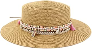 Outdoor Seaside Tourism Vacation Beach Visor Color Tassel Woven Belt Fashion Beach Hat Women's Flat Top Sun Hat (Color : Khaki, Size : 56-58CM)