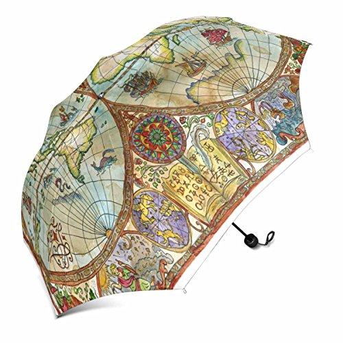InterestPrint World Atlas Karte auf Antik Papier Faltbar Outdoor Travel Compact Regenschirm (109,2cm)