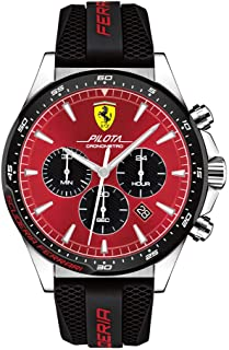 Ferrari Pilota, Quartz Stainless Steel and Silicone Strap Casual Watch, Black, Men, 830595