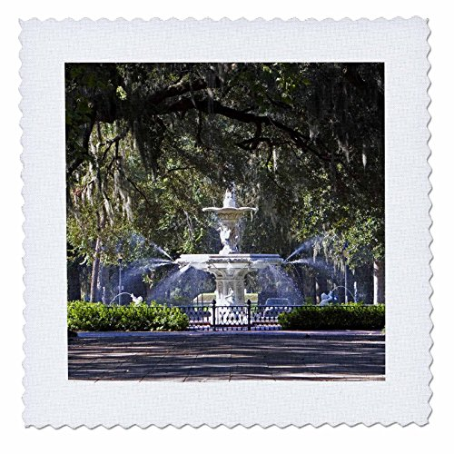 3dRose qs_89316_3 Water Fountain, Forsyth Park, Savannah, Georgia - US11 DFR0070 - David R. Frazier - Quilt Square, 8 by 8-Inch