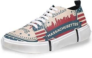 Franzibla Massachusetts State Boston Skyline Men's Fashion Sneaker Casual Shoes