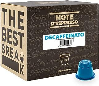 Note D'Espresso - Cápsulas de café descafeinado compatibles con cafeteras Nespresso, 5,6g (caja de 100 unidades)