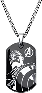 """Marvel Comics Men's Stainless Steel Captain America Dog Tag Chain Pendant Necklace, 24"""""""