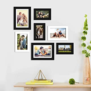Art Street Oceanus Synthetic Wood Wall Photo Frame for Home Decor with Hanging Accessories (Black and White, 4x6, 5x7, 6x8...