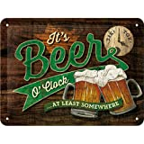 Nostalgic-Art 26214 Open Bar Beer O 'Clock Glasses, Plaque de 15 x 20 cm