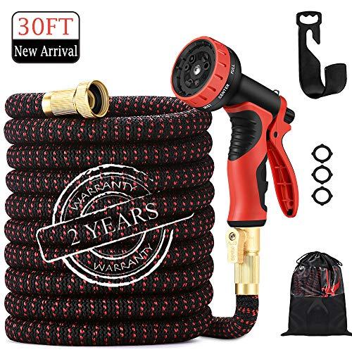30FT Garden hose| 2020 upgrade  Expandable Water Hose| with 9 Function Nozzle |Leak proof Lightweight Expanding Garden Water Hose| with Solid Brass Fittings| Best Choice for Watering and Washing.