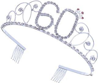 MILISTEN 60Th Happy Birthday Crystal Hair Tiara 70 Birthday Queen Headband Happy 70Th Birthday Hair Combs Crown Strass Gli...