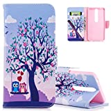 COTDINFORCA Case for Nokia 6.1 (2018) Leather Elegant Slim Magnetic Flip Case Cover with Card Slots Premium Protective Accessory for Nokia 6 (2018) 5.5 Inch. PU - Couple Owl