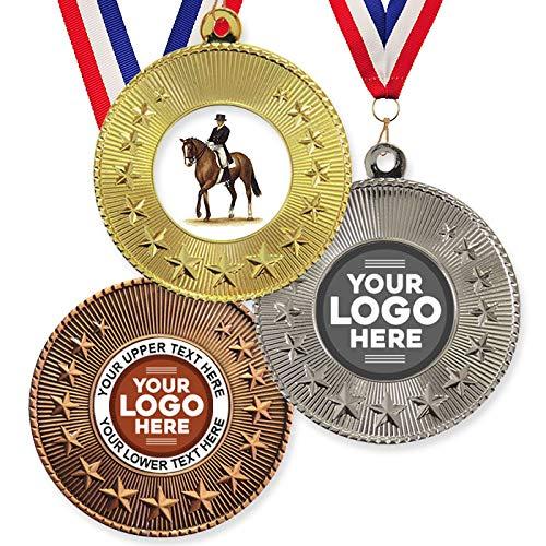 Trophy Monster Paquete de 10 medallas y cintas de metal de 50 mm, diseño de caballo de doma y estrella de caballo estándar o su logotipo, personalizable, paquete a granel, cantidad de 50,100,250, 500