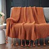 RUDONMG Knitted Throw Blanket with Fringe, Rust Orange Knit Throw Blanket for Couch Bed Sofa 50' x 60'