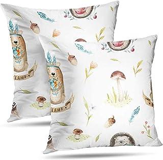 Fundas De Almohada De Vivero Woodland, Lindo Bebé Erizo Y Oso Animal Nursery Children Throw Pillows Fundas De Colchón 2Pcs 18 'X18'