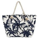 Grande borsa da spiaggia idrorepellente con cerniera Borsa a tracolla Shopper Palmas bianco