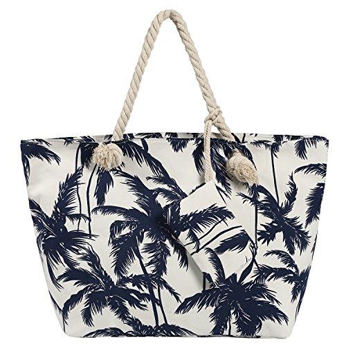 Große Strandtasche wasserabweisend mit Reißverschluss Palmen weiß