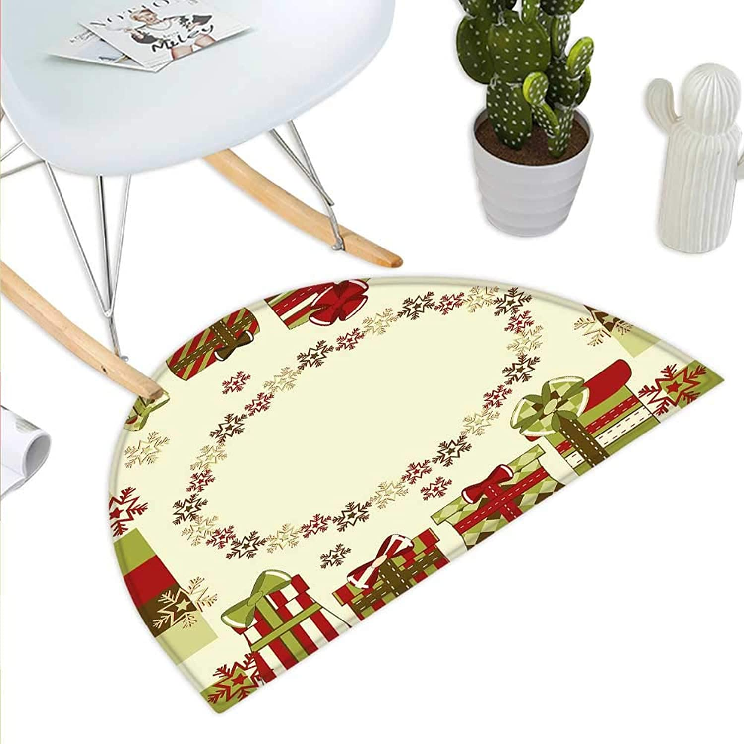 New Year Semicircle Doormat Star Shaped Snowflakes with Ornamental Boxes Abstract Christmas Halfmoon doormats H 35.4  xD 53.1  Pale Green Red Green Brown