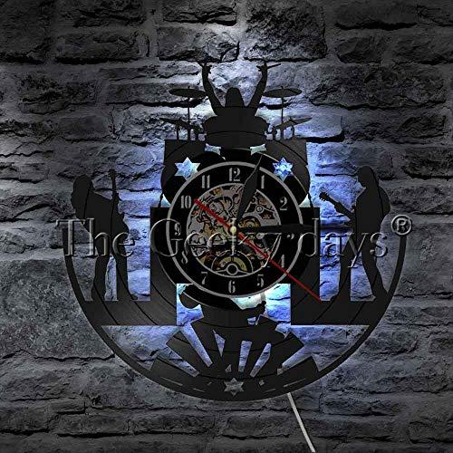 Rock Music Band Vinilo Record Reloj de pared Decoración Vintage Decoración de pared Reloj de pared para cantante músico con luz nocturna LED