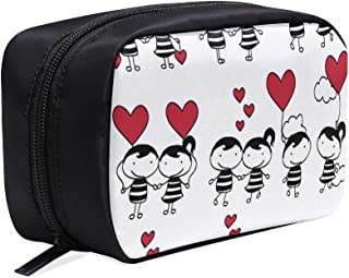 Couple In Love Together Valentine Portable Travel Makeup Cosmetic Bags Organizer Multifunction Case Small Toiletry Bags For Women And Men Brushes Case