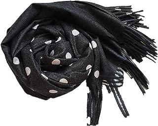 Tassel Fringed Polka Dot Scarf Shawl Knitted Cashmere Like Poncho Shawl Cape Scarf Wrap
