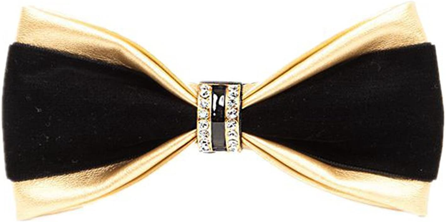 Multicolor Hello Tie Mens Pre-tied PU Leather Bow Ties With Crystal Decoration