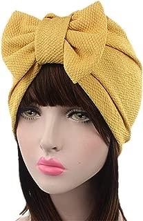 Fxhixiy Women's Stretch Cotton Removable Bowknot Turban Hat Chemo Beanies Hijab Headwear Cap