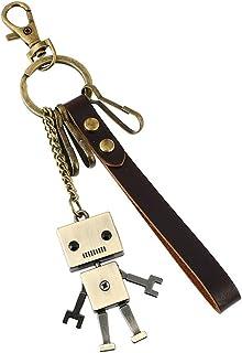 ユニーク(Unique) カラビナ キーホルダー おしゃれ メンズ レディース キーリング カップル かわいいロボット 革 キーチェーン 鍵揃い レトロ風 小物 合金製 メタリック プレゼント