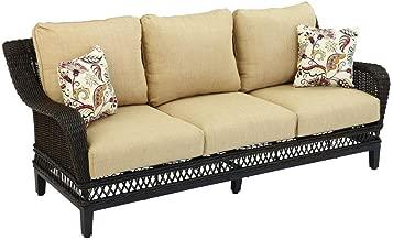 Hampton Bay Woodbury Wicker Outdoor Patio Sofa with Textured Sand Cushion