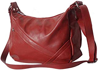 FLORENCE LEATHER MARKET Borsa Rossa a tracolla in pelle donna 35x12x22 cm - 3014 - Made in Italy