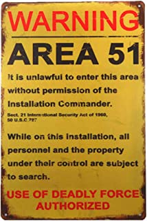 dingleiever-Funny Decorations Vintage Warning Signs Area 51 Garage Poster Art Wall Decor