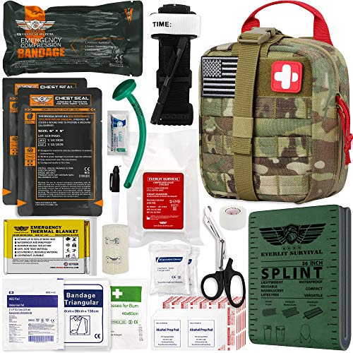 "Best ifak - EVERLIT Emergency Trauma Kit GEN-II Mil-Spec Nylon Laser Cut Pouch with Aluminum Tourniquet 36"" Splint, Military Combat Tactical IFAK for First Aid Response Bleeding Control (GEN-2 Multicam)"