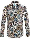 SSLR Camisa Estampado Cachemir Floral Manga Larga de Algodón de Hombre (Medium, Azul Rojo)