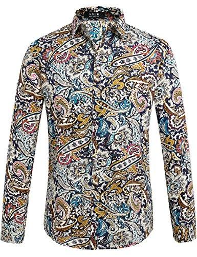 SSLR Herren Hemd Langarm Baumwolle Paisley Gedruckt Regular Fit Freizeithemd Bügelleicht Langarmhemd Shirt (Large, Blau Rot)