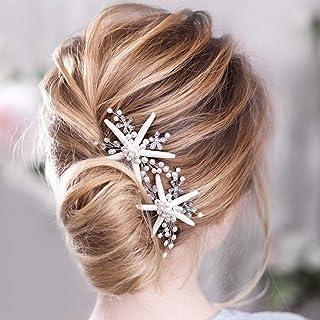 Handcess - Fermaglio per capelli da sposa con perle color argento, con fiore e stella marina, per donne e ragazze, confezi...
