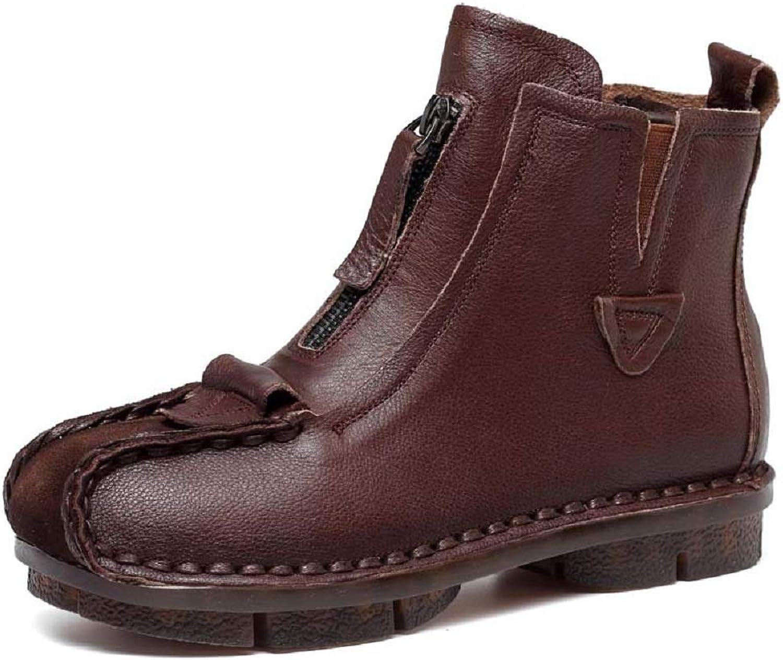 Gaslinyuan Weiche Damen Stiefel Zipper Vintage Casual Flache Lederschuhe (Farbe   Braun, Größe   EU 40)  | Günstige Preise