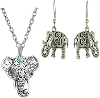 Silver Plated Cute Carve Turquoise Pendant Elephant Necklace Ear Wire Hook Dangle Earrings Set