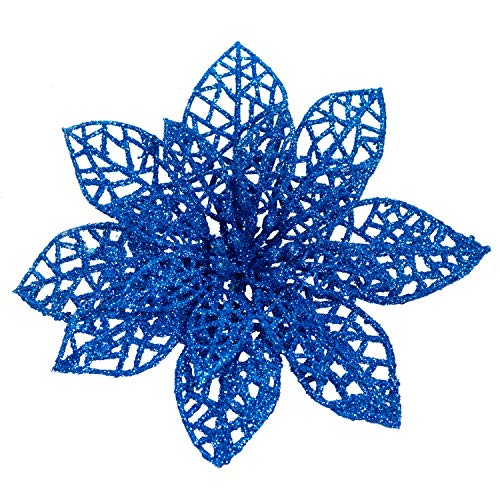 Rocinha 24 Pack Christmas Poinsettia Flowers Blue Christmas Tree Ornaments Artificial Christmas Flowers Floral Picks for Christmas Wreath Tree Ornaments