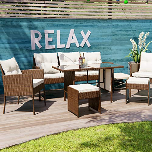Swing & Harmonie Polyrattan Sitzgruppe Esstisch Lounge Sitzgarnitur Essgruppe Gartenmöbel Set (braun)