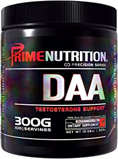 DAA | D-Aspartic Acid | Prime Nutrition | Testosterone Support | 300 Gram | 100 Servings