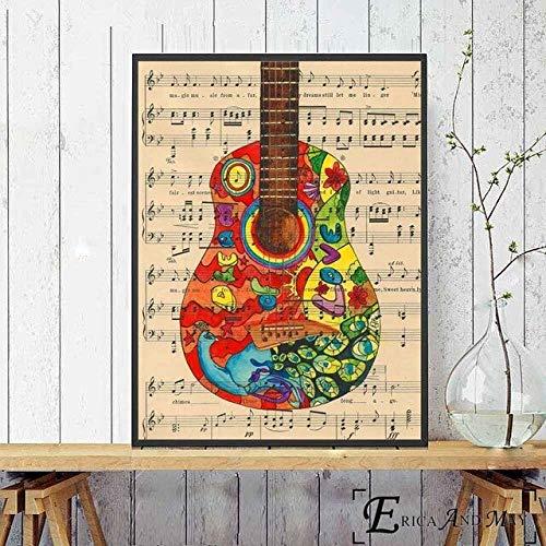 asfrata265 Colcha Guitarra Música Arte Lienzo Pintura Carteles E Impresiones Sala De Estar Sin Marco Arte De La Pared Imagen Decoración para El Hogar K223 40X50Cm