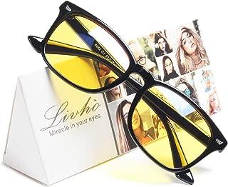 Livho HD Night Vision Driving Glasses Anti-Glare Blue Light Blocking & Computer Gaming Glasses for Men Women - Prevent Digital Eyestrain - 0.0 Magnification
