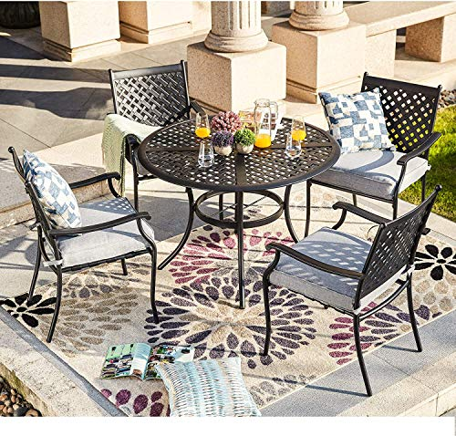 LOKATSE HOME 5-Piece Outdoor Patio Metal Dining Set with Iron Armrest Cushioned Chairs and Steel Round Table with Umbrella Hole, Grey