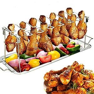 JoaSinc Parrilla para patas de pollo con soporte para asador de acero inoxidable con bandeja para goteo, colgar hasta 14 patas de pollo o alas,ideal para asar las alas de humo en la parrilla o fumador