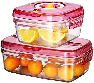 Lot de 2 boîtes de rangement de cuisine avec joint d'étanchéité en silicone - Conservation sous vide - Rangement facile